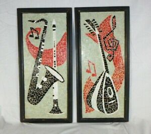 Vtg Mid Century MOD Mosaic Wall Art Musical Instruments Lute Sax Clarinet 12x25