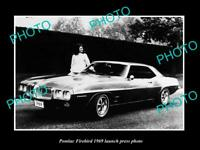OLD POSTCARD SIZE PHOTO OF 1969 PONTIAC FIREBIRD LAUNCH PRESS PHOTO