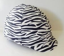 Horse Helmet Cover White And Black Animal Print Lycra AUSTRALIAN  MADE