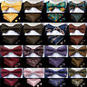 USA Men Silk Bowtie Pre-Tied Bow Tie Self Tie Adjustable Pocket Square Hanky Set