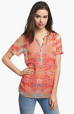 ANTHROPOLOGIE ELLA MOSS~CORAL FLORAL LEI CHIFFON PULLOVER TOP SHIRT~XS~NEW