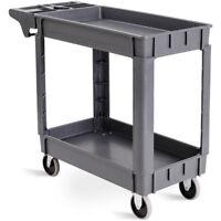 "Plastic Utility Service Cart 550 LBS Capacity 2 Shelves Rolling 40"" x 17"" x 33"""
