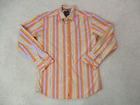 Roar Button Up Shirt Adult Medium Orange Blue Striped Long Sleeve Casual Mens *