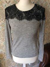 ladies 8 top t-shirt jumper black grey stripe lace long sleeve atmosphere casual