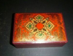 Vintage Italian Florentine Leather Jewelry Trinket Box Gold SS Queen Frederica