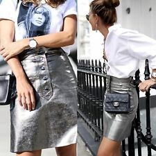 RRP £59.99 ZARA AGED SILVER LEATHER SKIRT SIZE S