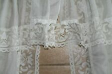 VERY PRETTY CREAM EMBROIDERED NET CURTAINS WITH PELMET ATTACHED + TIEBACKS