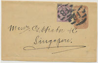 2468 1885 QV ½ D postal stationery wrapper uprated with QV 1D lilac to SINGAPORE