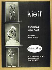 1973 Antonio Grediaga Kieff Sculptures photo montreal gallery vintage print Ad