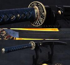 "41""Japanese Samurai Sword Black Folded Steel KATANA Sharp Blade Leather Tsuka 56"
