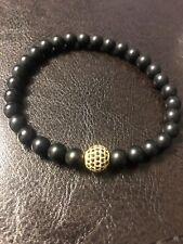 Men bracelet beads black