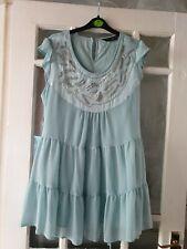 Dorothy Perkins Mint Green Chiffon Tunic/short Dress Size 16