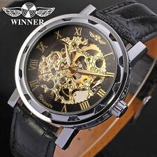 WINNER Skeleton Golden Roman Numerals Stainless Steel Leather Watch New