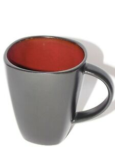 Gibson Design China Square Black Red 12oz Mug Cup Coffee Ceramic Soho Lounge NEW