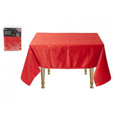 132 X 178cm *Red Christmas Poinsettia Embossed Tablecloth Rectangle Heavy Duty