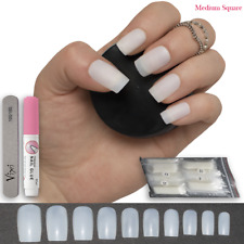 600x SQUARE Short/Medium FULL COVER ELEGANT False Nails OPAQUE ✅ FREE GLUE ✅ UK