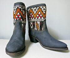 Cobra Society Otto black brushed leather boots, wool kilim trim, size 7, NIB