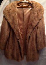 Light Brown Mink Fur Coat Long Jacket Huge Collar Medium/Large