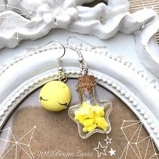Orecchini Luna e Stelle ~ Cute Moon & Star Earrings Fimo Polymer Clay Kawaii