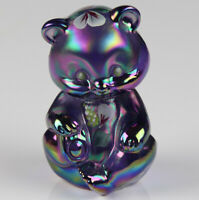 Fenton Glass Bear Purple Carnival Iridescent Glass with Hand Painted Flowers