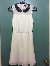 ZARA Cute Pleated White Sheer Muti Color Beaded Collar Sash Dress Size XS