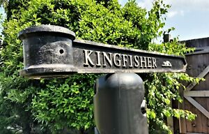 """Vintage London Signpost Cast Metal Direction Sign KINGFISHER Size 38""""x3.5""""x1"""""""