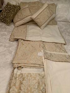 Dorma Single 8 Piece Gold Rope Damask & Cream Full Bed Duvet Set