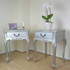 French Rococo Antique Silver Boudoir Single Drawer Bedside / Side Lamp Table