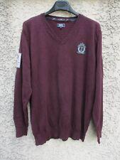 Pull SERGE BLANC RUGBY SOUL CLUB 1992 15 col en V prune coton 3XL XXXL