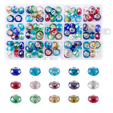 100pc Glass European Beads Large Hole Faceted Slide Charms Rondelle Mixed Color