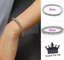 Bracciale Perle Acciaio Sfere Palline Argento braccialetto Elastico Uomo Donna