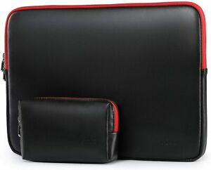 HYZUO 15-16 Inch Laptop Sleeve Lambskin Case Bag Macbook Pro Dell | Black/Red