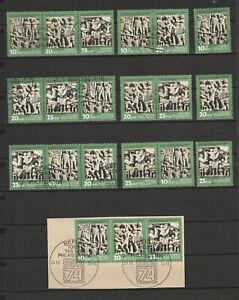 """DDR Briefmarken Kombi-komplett """"Tag der Philatelisten"""" Mi. 1988-90 gest."""