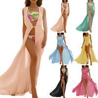 Damen Bikini Cover Up Kaftan Ärmellos Sommer Bademode Strand Kleid Maxikleid 42