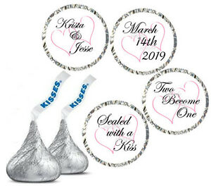 HERSHEY KISS LABELS  ~ WEDDING HEARTS   ~  GLOSSY OR MATTE FINISH - COLOR CHOICE