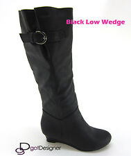 Women Fashion Shoes Boot Knee High Military Riding Motorcycle Comfort Low Wedge