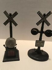 2 VINTAGE MARX MAR LINES RAILROAD CROSSING STOP SIGN One WITH BELL
