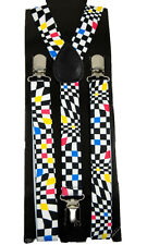 """Mens Unisex Clip-on Braces Elastic Y-back Suspender """"Auto Racing Checker"""""""