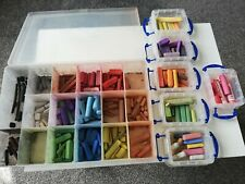 JOB LOT OF USED ARTISTS PASTELS IN PLASTIC CONTAINERS..ASSORTED COLOURS