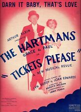 "Grace and Paul Hartman ""TICKETS PLEASE"" Larry Kert (Debut) 1950 Sheet Music"