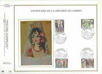 FEUILLET CEF 1er JOUR MONACO CENTENAIRE DE LA CRÉATION DE CARMEN 1975 SUR SOIE