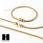 14k Gold Finish Heavy 5mm Miami Cuban Link Chain Necklace Bracelet Various Set D