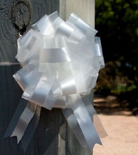 14  White Ribbon and Tulle Pew  Bows for wedding .