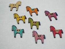 5pc 26mm Painted Dala Horse Inspired Wooden Cardigan Shirt Sewing Buttons 0283