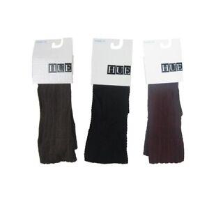 Womens HUE 3 pair Knee-Hi Triple Rib & Quilted Chevron Black Shitake Claret  OS