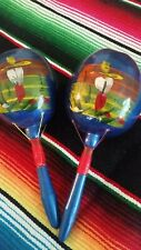 Pair Mexican Maracas Hand Painted Gourd Shakers made in Mexico