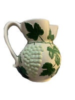 Majolica Style Pitcher White with Pale Green Grapes And Dark Green Leaves.