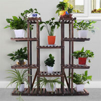 17 Pot Multi Tier Wooden Plant Stand Bonsai Display Flower Shelf Outdoor Indoor
