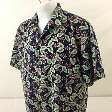 VTG Hanauma Bay Originals Hawaiian Aloha Shirt Blue Floral 100% Cotton USA XL