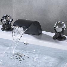 Crystal Handles Widespread Bathroom Sink Faucet Waterfall Spout Vanity Mixer Tap